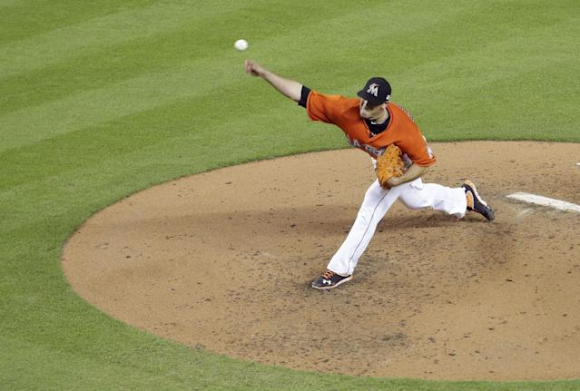 Miami Marlins starting pitcher Jose Fernandez throws in the fourth inning of a baseball game against the Atlanta Braves, Wednesday, Sept. 11, 2013, in Miami. (AP Photo/Lynne Sladky)
