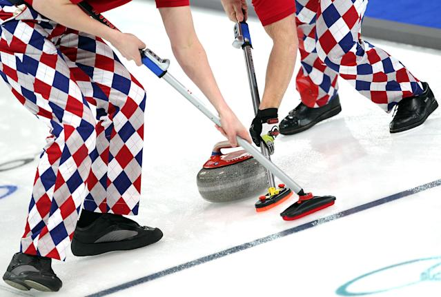 <p>A detail of the pants of team members from Norway as they sweep during the men's curling round robin game against Switzerland on day 7 of the Vancouver 2010 Winter Olympics at Vancouver Olympic Centre on February 18, 2010 in Vancouver, Canada. (Photo by Jamie Squire/Getty Images) </p>