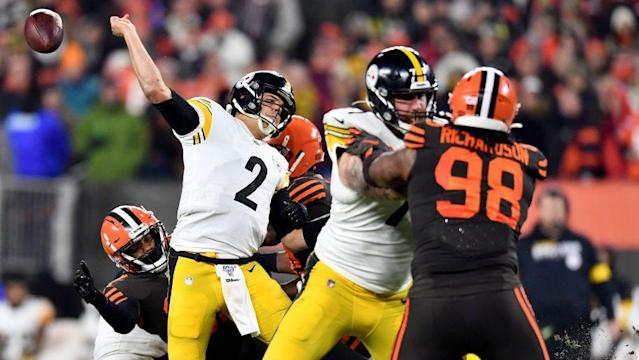 Browns intercept Mason Rudolph four times in 21-7 win over Steelers marred by melee, ejections