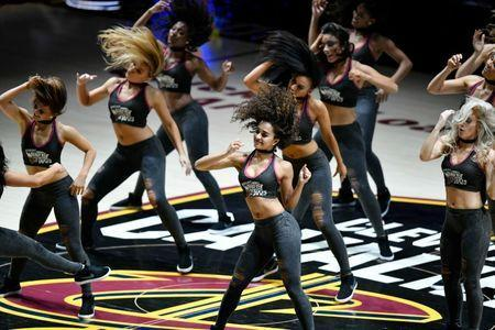 May 21, 2018; Cleveland, OH, USA; The Cleveland Cavaliers Girls perform in game four of the Eastern conference finals against the Boston Celtics in the 2018 NBA Playoffs at Quicken Loans Arena. Mandatory Credit: David Richard-USA TODAY Sports