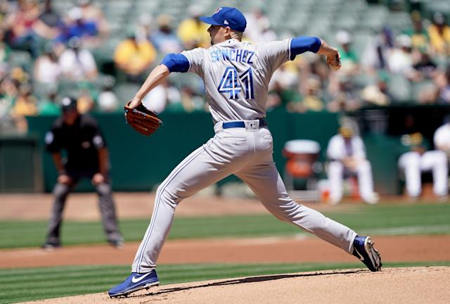 Aaron Sanchez only threw four innings on Sunday afternoon thanks to a fingernail injury. (Photo by Thearon W. Henderson/Getty Images)