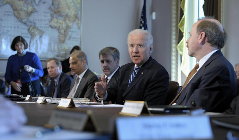 President Joe Biden, second from right, gestures as he speaks during a meeting with Sportsmen and Women and Wildlife Interest Groups and member of his cabinet, Thursday, Jan. 10, 2013, in the Eisenhower Executive Office Building on the White House complex in Washington. Biden is holding a series of meetings this week as part of the effort he is leading to develop policy proposals in response to the Newtown, Conn., school shooting (AP Photo/Susan Walsh)