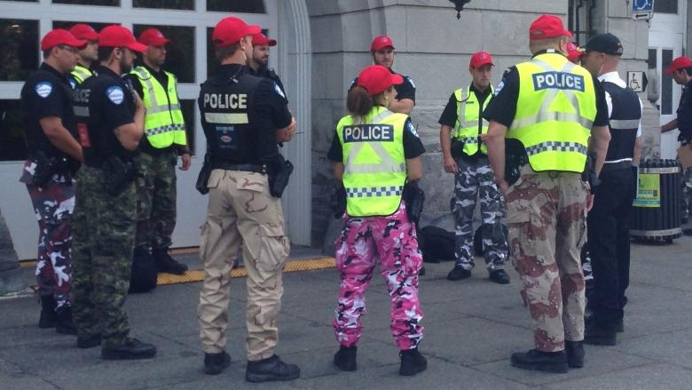 Quebec tables bill to force police to ditch colourful camo pants protest