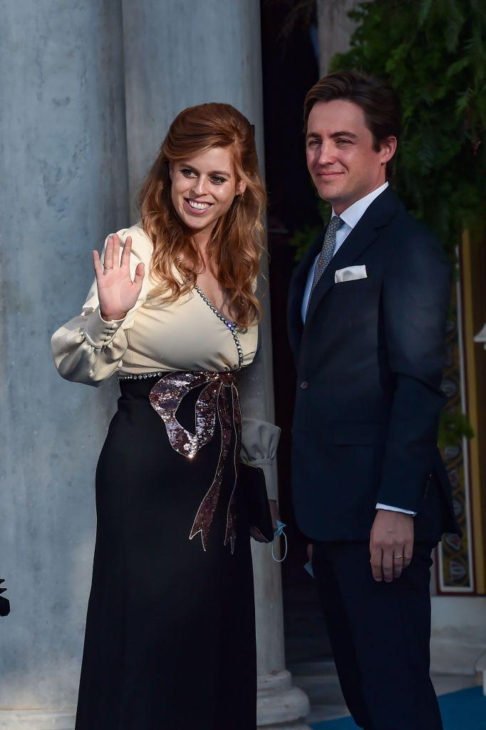 <p>Princess Beatrice and Edoardo Mapelli Mozzi arriving at the wedding of Nina Flohr and Prince Philippos in Athens, Greece.</p>