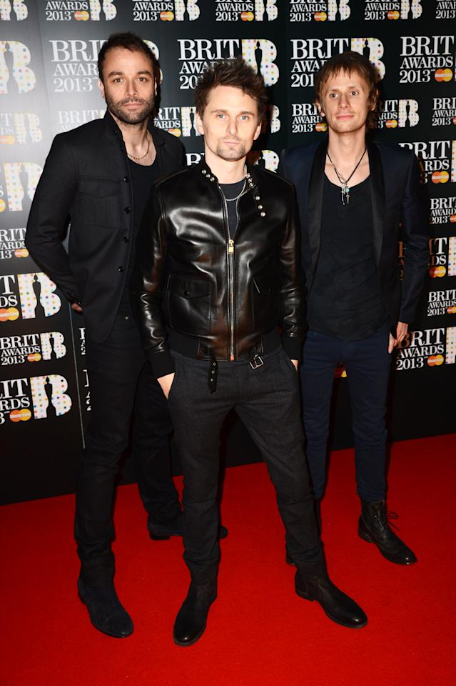 LONDON, ENGLAND - FEBRUARY 20:  Dominic Howard, Matthew Bellamy and Chris Wolstenholme of Muse attend The Brit Awards 2013 at The O2 Arena on February 20, 2013 in London, England.  (Photo by Dave J Hogan/Getty Images)