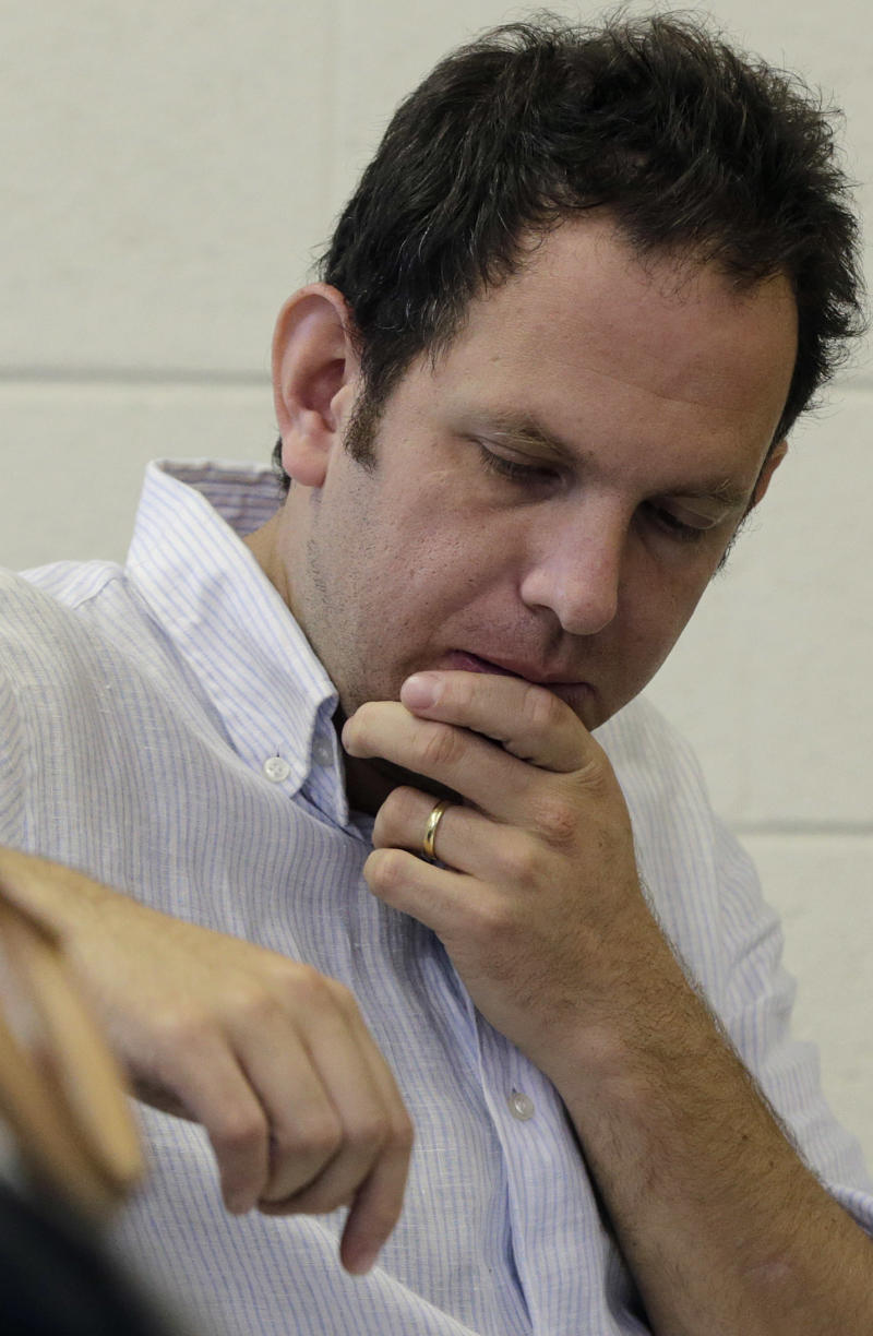 """Composer Yotam Haber attends a rehearsal for his civil rights symphony """"A More Convenient Season"""" in Birmingham, Ala., Saturday, Sept. 7, 2013. (AP Photo/Dave Martin)"""