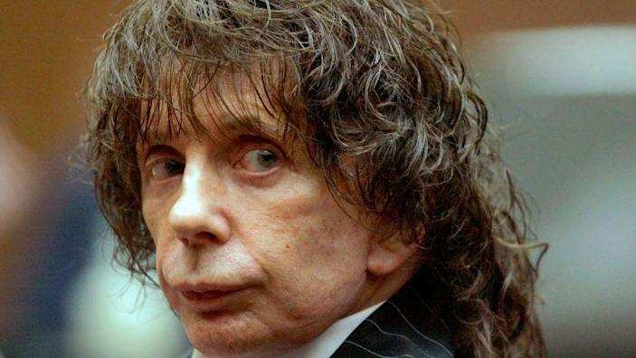 This July 29, 2008, file photo shows music producer Phil Spector during a hearing in Los Angeles County Superior Court. Opening statements are set for Wednesday, Oct. 29, 2008, in the murder retrial of Spector, who is accused of killing actress Lana Clarkson at his home in 2003. (AP Photo/Nick Ut) ORG XMIT: LA102