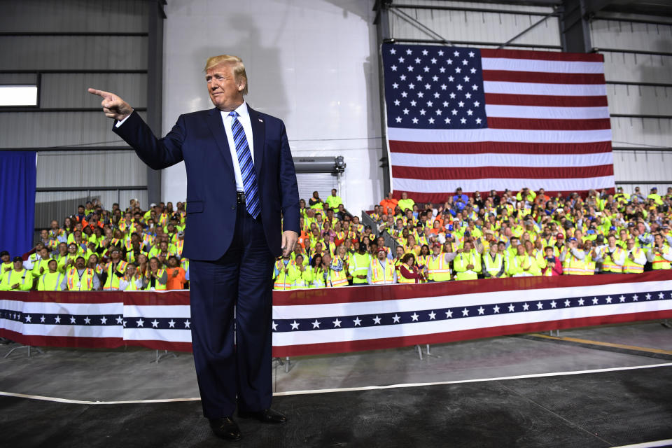 President Donald Trump arrives to speak during a visit to the Pennsylvania Shell ethylene cracker plant on Tuesday, Aug. 13, 2019 in Monaca, Pa. The facility, which critics claim will become the largest air polluter in western Pennsylvania, is being built in an area hungry for investment. (AP Photo/Susan Walsh)