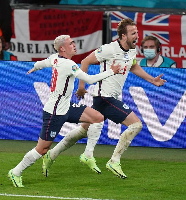 Kane (right) shone as England reached the final at Euro 2020