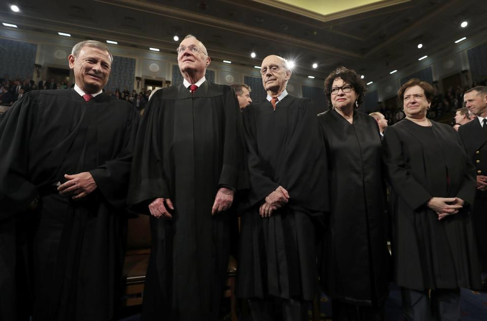 Chief Justice John Roberts (L) and Supreme Court Justices (2NL-R) Anthony Kennedy, Stephen G. Breyer, Sonia Sotomayor and Elena Kagan arrive for U.S. President Donald Trump's first address to a joint session of Congress, February 28, 2017. REUTERS/Jim Lo Scalzo/Pool