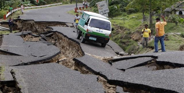 A road devastated by an earthquake