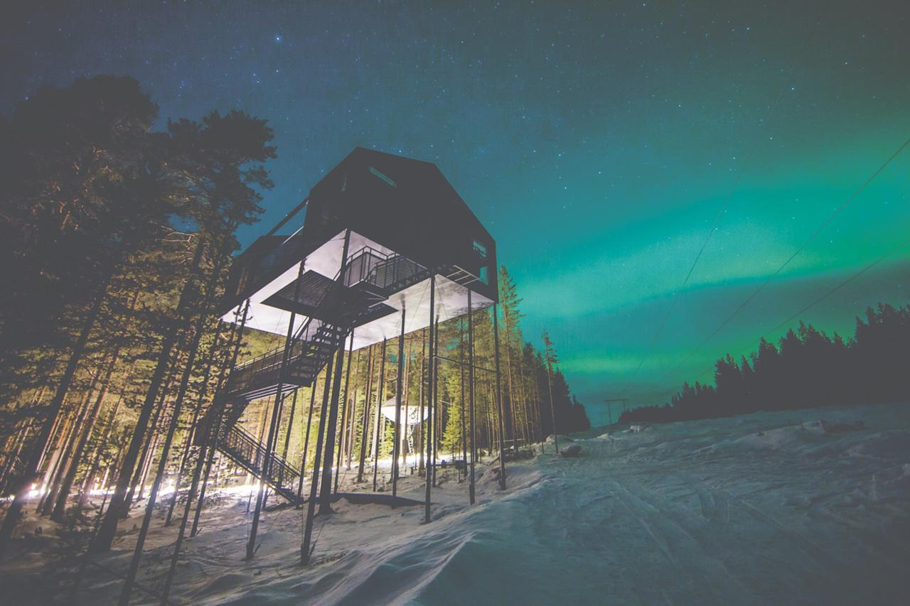 Sweden's <strong>Treehotel</strong> features creative cabins that give guests the experience of staying amid the tree canopy. Snøhetta designed the 7th Room at the boutique hotel. The cabin celebrates Swedish design and building techniques and offers plenty of views of the arctic sky through skylights and a hammock-like netting between the two bedrooms.