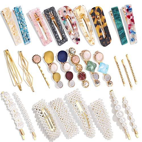 28 PCS Hingwah Pearls and Acrylic Resin Hair Clips, Handmade Hair Barrettes, Marble Alligator bobby pins, Glitter Crystal Geometric Hairpin, Elegant Gold Hair Accessories, Gifts for Women Girls (Amazon / Amazon)
