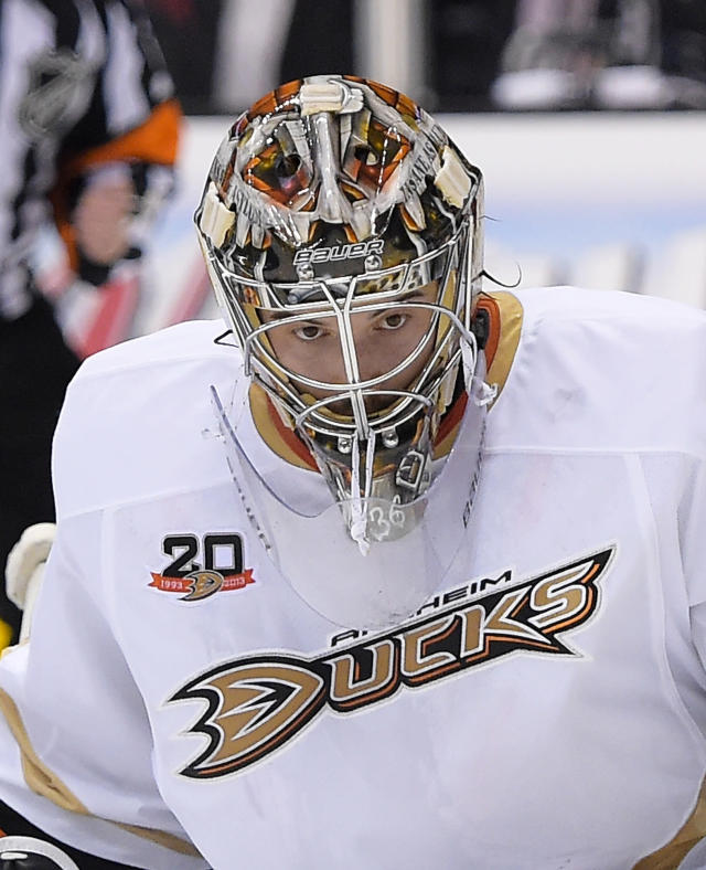 Anaheim Ducks goalie John Gibson looks on during the second period in Game 4 of an NHL hockey second-round Stanley Cup playoff series against the Los Angeles Kings, Saturday, May 10, 2014, in Los Angeles. (AP Photo/Mark J. Terrill)