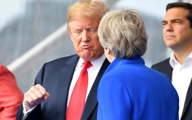 Donald Trump and Theresa May at the weekend - AP