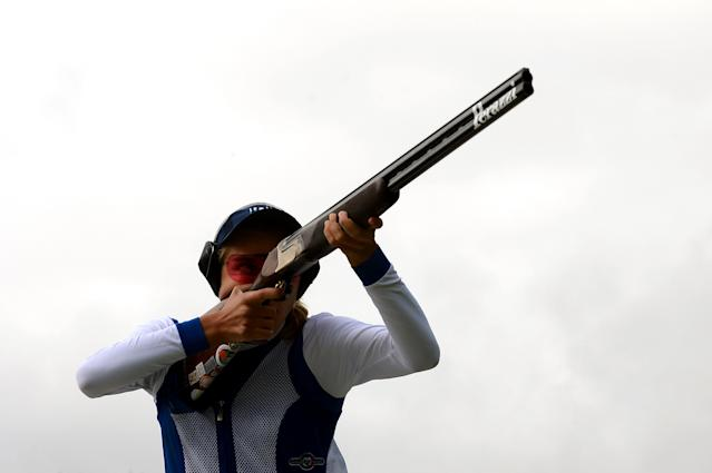 LONDON, ENGLAND - AUGUST 04: Jessica Rossi of Italy competes during the Women's Trap Shooting Qualification on Day 8 of the London 2012 Olympic Game at the Royal Artillery Barracks on August 4, 2012 in London, England. (Photo by Lars Baron/Getty Images)