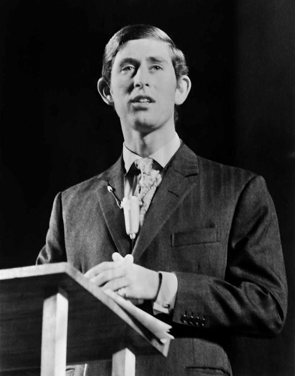 Picture taken on November 1970 at London showing Prince Charles of Wales making a speech. (Photo by - / CENTRAL PRESS PHOTO LTD / AFP)        (Photo credit should read -/AFP via Getty Images)