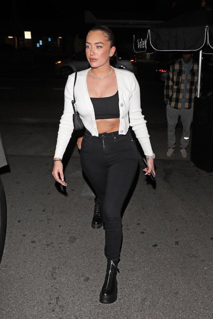 Kylie Jenner's best friend Stassie Karanikolaou is seen leaving the Delilah restaurant with a male companion in West Hollywood. 28 Dec 2019 Pictured: Stassie Karanikolaou. Photo credit: Photographer Group/MEGA TheMegaAgency.com +1 888 505 6342 (Mega Agency TagID: MEGA574858_006.jpg) [Photo via Mega Agency]