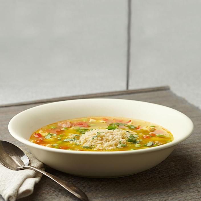<p>This soup recipe for two is inspired by the flavors and ingredients of paella, but unlike paella it's simple enough for a speedy weeknight dinner. If you can't find Spanish chorizo, use pepperoni (add a pinch of smoked paprika if you have it). Serve with warm whole-grain garlic bread.</p>