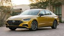 """<p><strong>Score: 6.9 / 10</strong></p> <p>The <a href=""""https://www.motor1.com/reviews/414408/2020-hyundai-sonata-sel-plus-sedan-review/"""" rel=""""nofollow noopener"""" target=""""_blank"""" data-ylk=""""slk:Sonata"""" class=""""link rapid-noclick-resp"""">Sonata</a> has been on sale in the US for more than 30 years, but finally it feels like Hyundai has perfected the formula. The latest Sonata is a standout in the mid-size sedan segment, earning high marks in its first review for design, tech, and safety. The only thing limiting this particular model – the SEL Plus – is the turbocharged 1.6-liter engine. The optional engine only produces a modest 180 horsepower and 195 pound-feet of torque.</p> <br><a href=""""https://www.motor1.com/reviews/414408/2020-hyundai-sonata-sel-plus-sedan-review/"""" rel=""""nofollow noopener"""" target=""""_blank"""" data-ylk=""""slk:2020 Hyundai Sonata SEL Plus Review: Resurgent"""" class=""""link rapid-noclick-resp"""">2020 Hyundai Sonata SEL Plus Review: Resurgent</a><br><a href=""""https://www.motor1.com/reviews/386840/2020-hyundai-sonata-first-drive/"""" rel=""""nofollow noopener"""" target=""""_blank"""" data-ylk=""""slk:2020 Hyundai Sonata First Drive: Rekindle The Flame"""" class=""""link rapid-noclick-resp"""">2020 Hyundai Sonata First Drive: Rekindle The Flame</a><br>"""