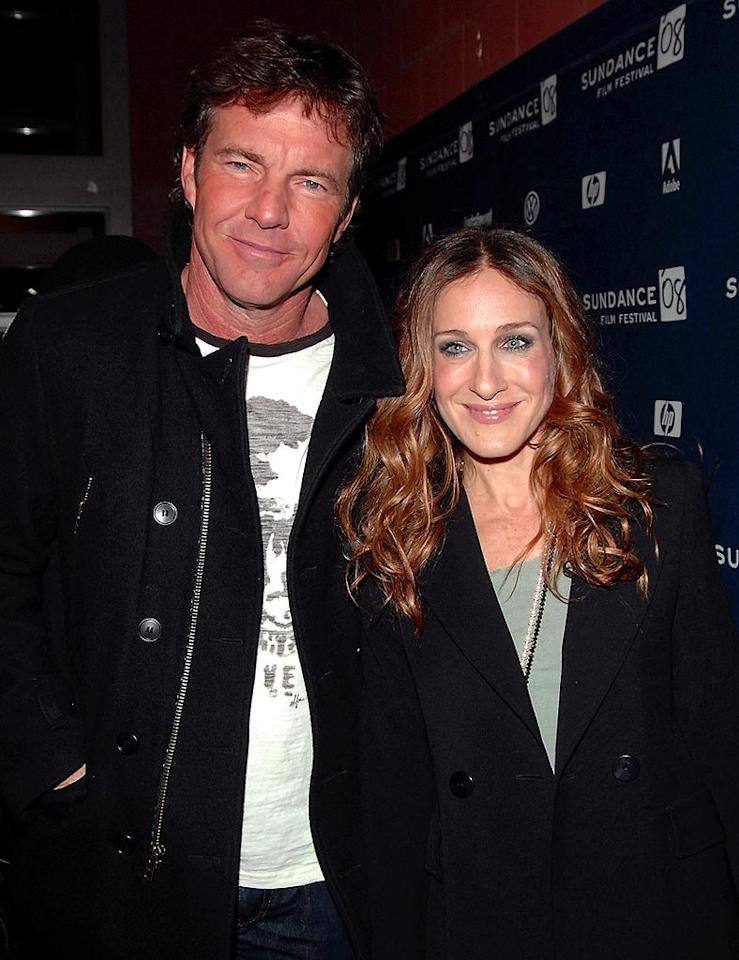 "Dennis Quaid poses with his ""Smart People"" co-star Sarah, who plays his love interest in the film. George Pimentel/<a href=""http://www.wireimage.com"" target=""new"">WireImage.com</a> - January 20, 2008"
