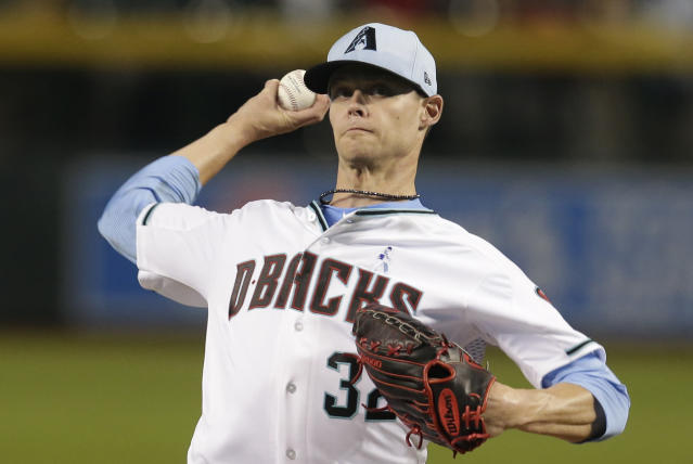 Arizona Diamondbacks pitcher Clay Buchholz throws in the first inning during a baseball game against the New York Mets, Sunday, June 17, 2018, in Phoenix. (AP Photo/Rick Scuteri)