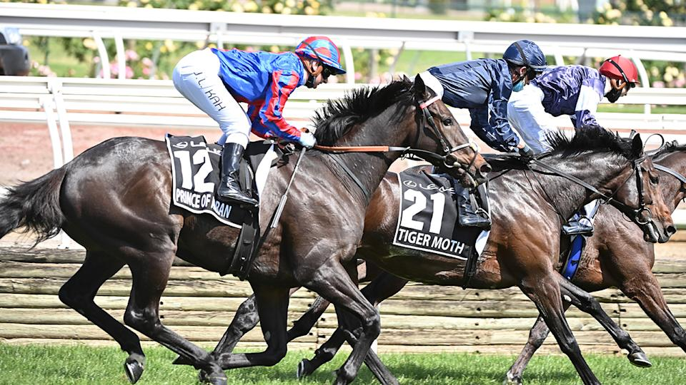 Jamie Kah, pictured here riding Prince Of Arran to third place in the Melbourne Cup.