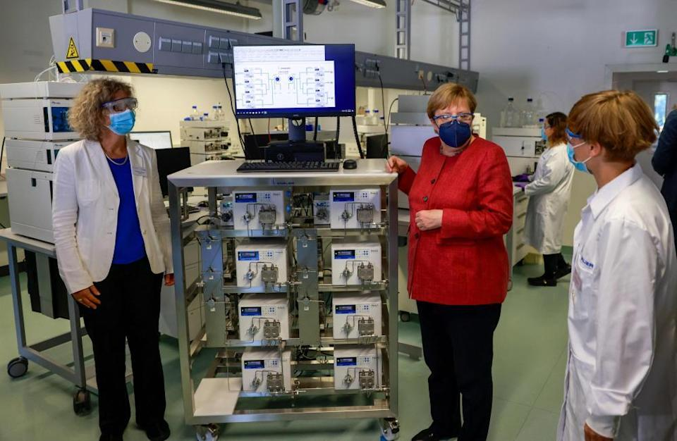 Merkel on a visit to a manufacturer of laboratory instruments in Berlin, September 2021