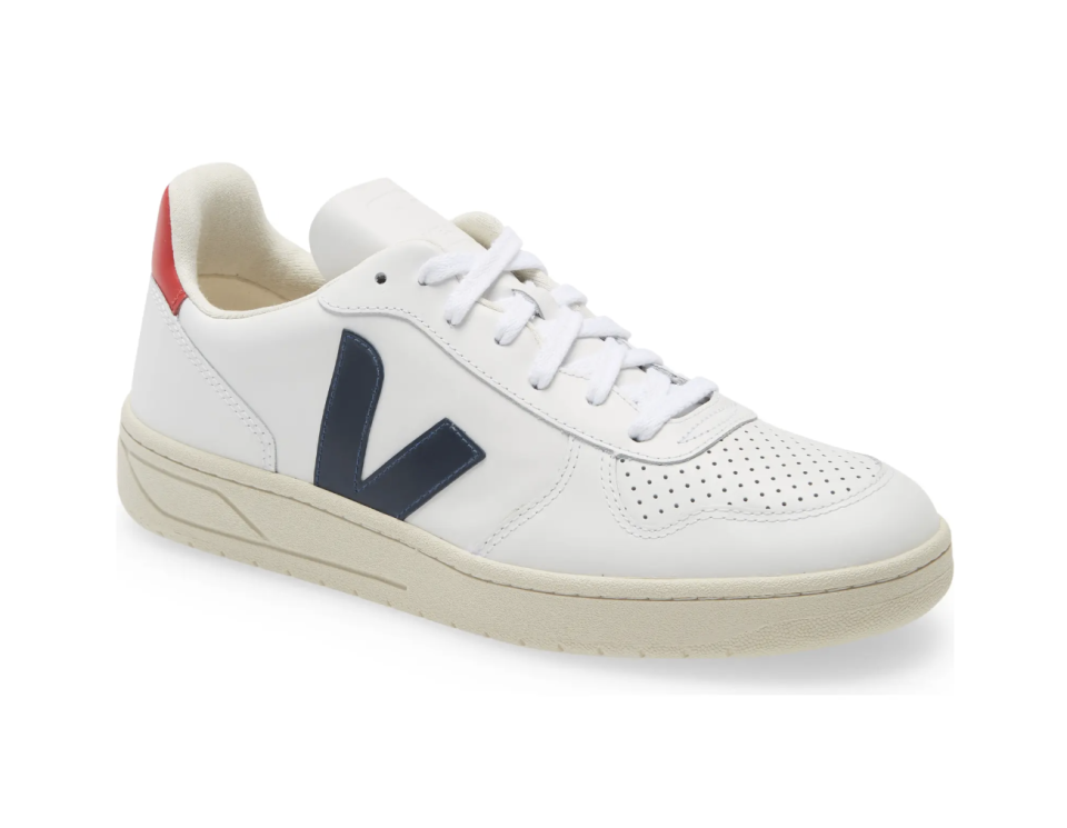white, navy blue, and red veja v-10 sneakers with white leather and white laces