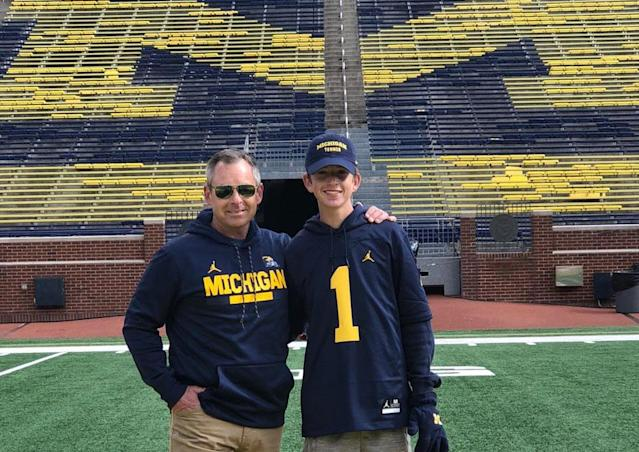 Tom Mars (L, shown with his son Thomas) is a big reason why Michigan is in College Football Playoff contention this season. (Photo credit: Mars family)