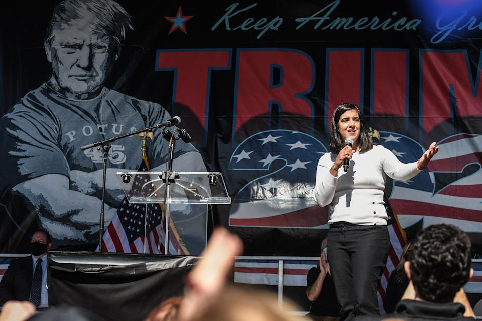 Nicole Malliotakis, a then-New York State assemblywoman, speaks during a pro-Trump rally on October 3, 2020 in the borough of Staten Island in New York City. (Photo by Stephanie Keith/Getty Images)