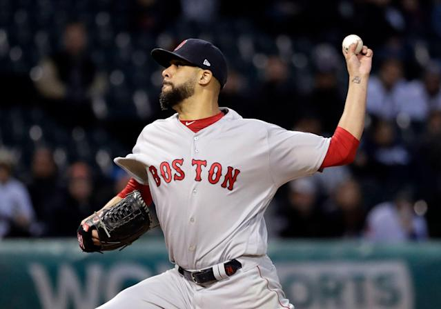 Boston Red Sox starting pitcher David Price throws to a Chicago White Sox batter during the first inning of a baseball game in Chicago, Thursday, May 2, 2019. (AP Photo/Nam Y. Huh)