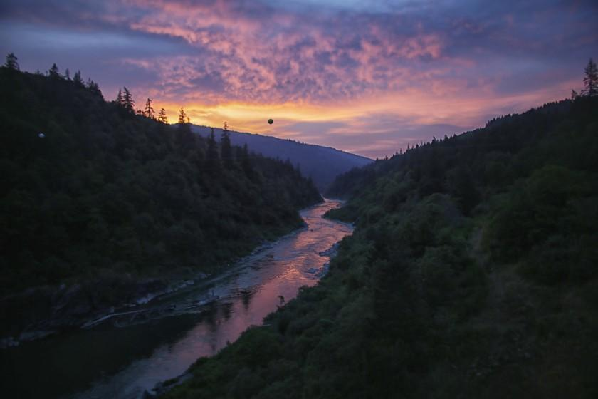 WEITCHPEC, CA, TUESDAY, JUNE 5, 2016 - Storm clouds gather as the sun sets beyond the Klamath River as seen from the Martin's Ferry Bridge in Weithcpec on the Yurok Indian reservation. (Robert Gauthier/Los Angeles Times)