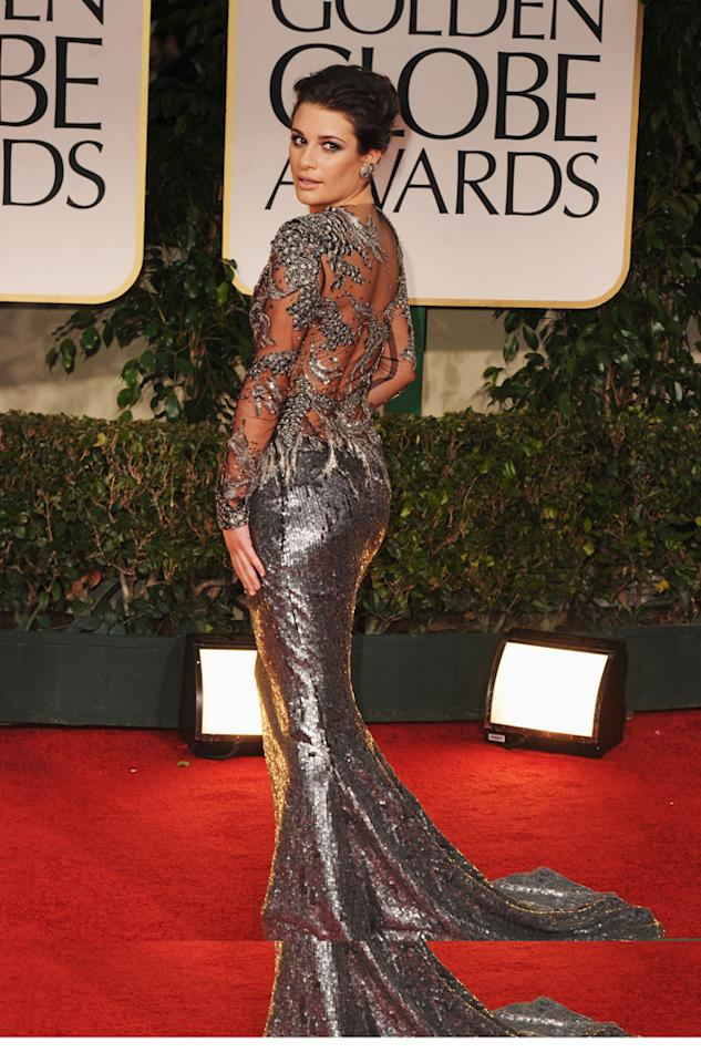 Lea Michele arrives at the 69th Annual Golden Globe Awards in Beverly Hills, California, on January 15.