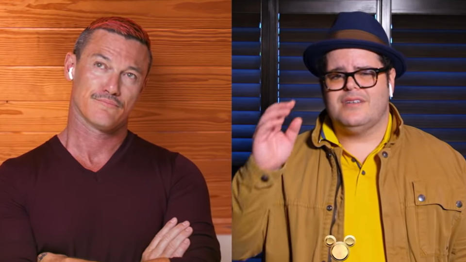 Luke Evans and Josh Gad reprised their 'Beauty and the Beast' roles as part of 'The Disney Family Singalong'. (Credit: ABC)