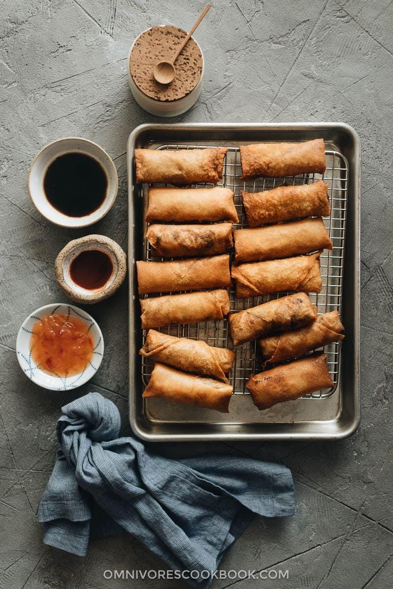 """<p>Eggs rolls are usually the kind of treat you can old get when you order out. Not any more — this recipes makes at-home crispy egg rolls easy and attainable. </p><p><em><a href=""""https://omnivorescookbook.com/chinese-egg-rolls/"""" rel=""""nofollow noopener"""" target=""""_blank"""" data-ylk=""""slk:Get the recipe from the Omnivore's Cookbook >>"""" class=""""link rapid-noclick-resp"""">Get the recipe from the Omnivore's Cookbook >></a></em></p>"""