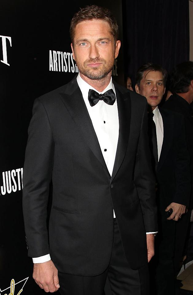 Gerard Butler attends the Hollywood Domino And Bovet 1822 Gala Benefiting Artists For Peace And Justice at Sunset Tower on February 21, 2013 in West Hollywood, California.
