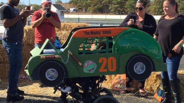 PHOTO: Craig Denton III, 6, of Toms River, N.J., 'loves to ram things with his wheelchair,' so his family said a demolition derby car is perfect. (Courtesy Magic Wheelchair)