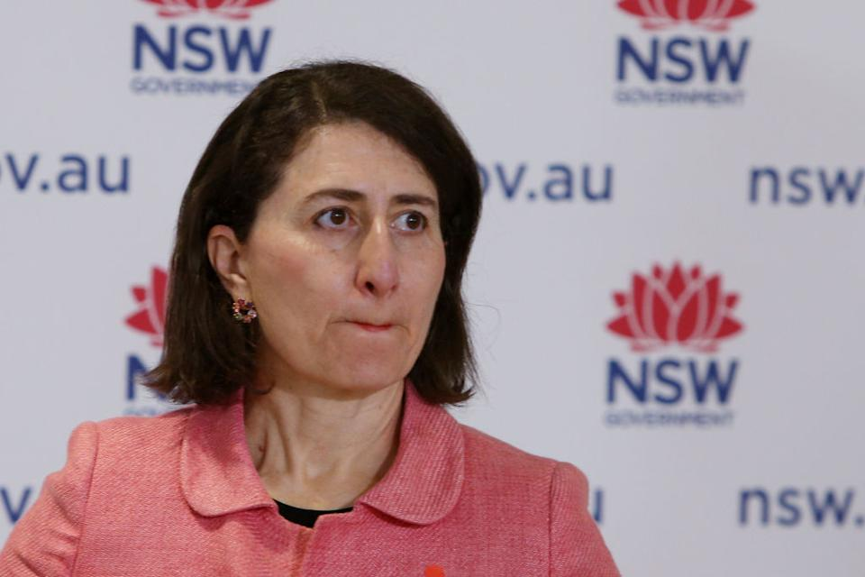 NSW Premier Gladys Berejiklian takes questions during a COVID-19 update and press conference in Sydney, Australia.
