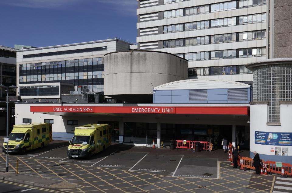CARDIFF, WALES - OCTOBER 14:  A General view of the Emergency and Trauma unit entrance at the Heath Hospital Cardiff on October 14, at Cardiff, Wales, Coronavirus cases rise infection number increase in Wales. (Photo by Huw Fairclough/Getty Images)