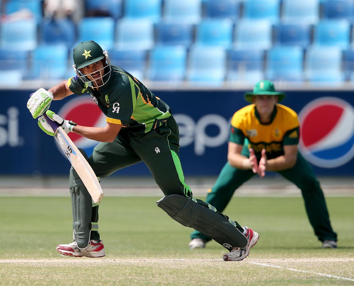 DUBAI, UNITED ARAB EMIRATES - MARCH 01:  Hassan Ramza Khan of Pakistan bats during the ICC U19 Cricket World Cup 2014 Super League Final match between South Africa and Pakistan at the Dubai Sports City Cricket Stadium on March 1, 2014 in Dubai, United Arab Emirates.  (Photo by Francois Nel - IDI/IDI via Getty Images)