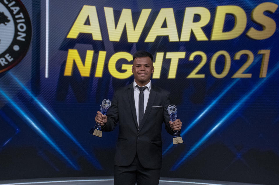 Lion City Sailors left-back Nur Adam Abdullah earns the Young Player of the Year Award at the FAS Awards Night 2021. (PHOTO: Football Association of Singapore)