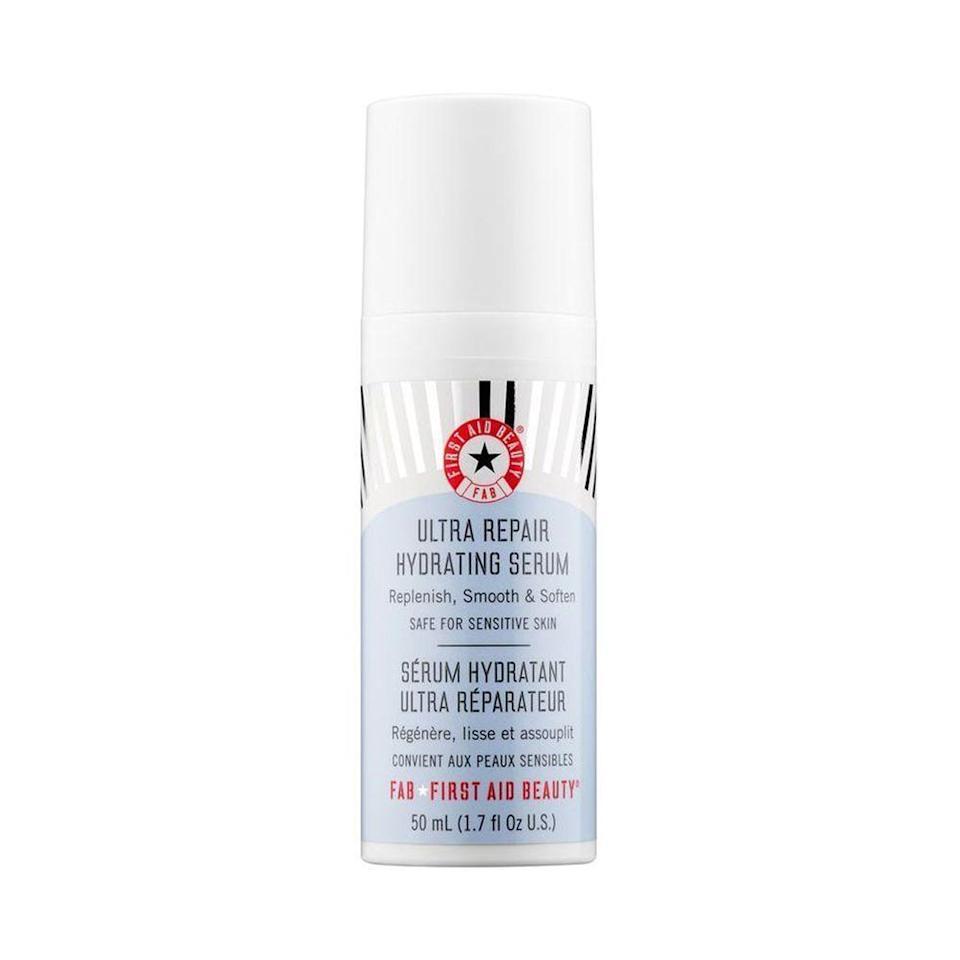 """<p><strong>First Aid Beauty</strong></p><p>sephora.com</p><p><strong>$38.00</strong></p><p><a href=""""https://go.redirectingat.com?id=74968X1596630&url=https%3A%2F%2Fwww.sephora.com%2Fproduct%2Fultra-repair-hydrating-serum-P403739&sref=https%3A%2F%2Fwww.elle.com%2Fbeauty%2Fmakeup-skin-care%2Ftips%2Fg8091%2Fface-serum%2F"""" rel=""""nofollow noopener"""" target=""""_blank"""" data-ylk=""""slk:Shop Now"""" class=""""link rapid-noclick-resp"""">Shop Now</a></p><p>If you're looking for a good hydrating serum without retinol or lactic/glycolic acid (for the sensitive-skinned among us), this is the formula for you. The lightweight product sinks into your complexion to provide an immediate burst of hydration. </p>"""