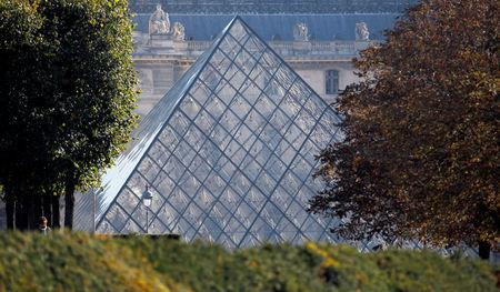 FILE PHOTO: View of the glass pyramid, designed by Chinese-born U.S. Architect I.M. Pei, which is the entrance of the Louvre Museum in Paris
