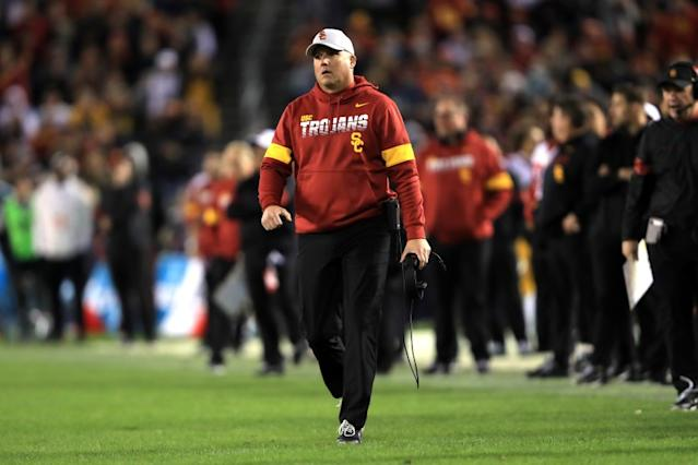 """Coach Clay Helton and the Trojans football program picked up a fourth commitment over the last five weeks. <span class=""""copyright"""">(Sean M. Haffey / Getty Images)</span>"""