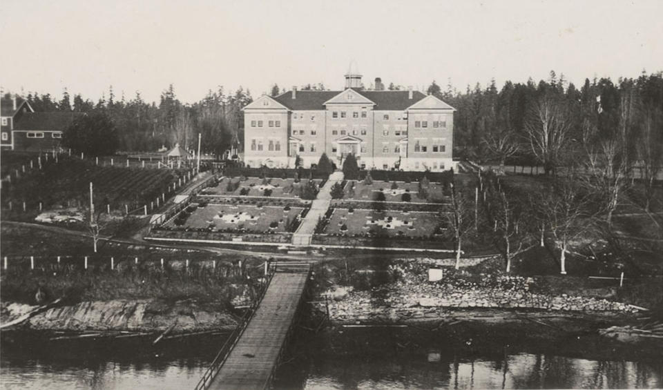 The Kuper Island Indian Residential School is seen on Penelakut Island, British Columbia in a June 19, 1941 archive photo. A Canadian policy of forcibly separating aboriginal children from their families and sending them to residential schools amounted to