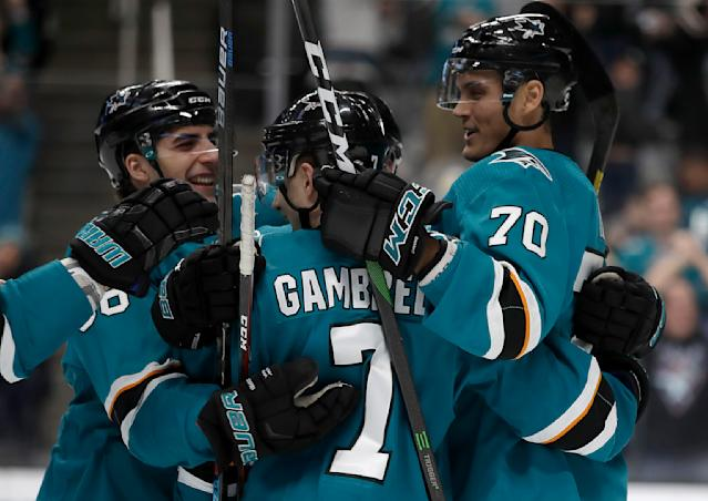San Jose Sharks' Dylan Gambrell, center, celebrates with Mario Ferraro, left, and Alexander True (70) after scoring against the Florida Panthers in the first period of an NHL hockey game Monday, Feb. 17, 2020, in San Jose, Calif. (AP Photo/Ben Margot)