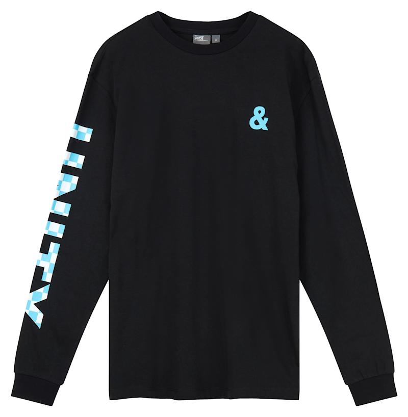 """ASOS x GLAAD <a href=""""http://us.asos.com/asos/asos-x-glaad-relaxed-long-sleeve-t-shirt-with-sleeve-print/prd/8767471?clr=black&cid=27384&pgesize=12&pge=0&totalstyles=12&gridsize=3&gridrow=4&gridcolumn=3"""" target=""""_blank"""">relaxed long-sleeve t-shirt with sleeve print</a>, $32"""