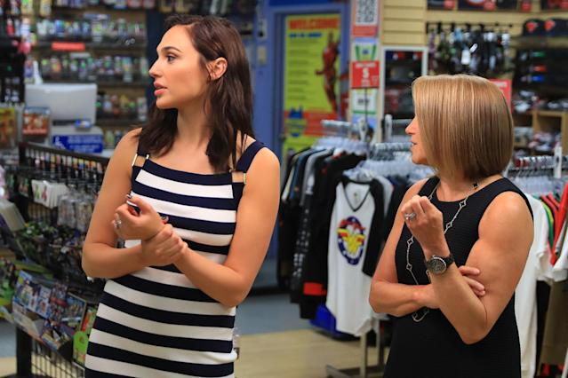 <p>Yahoo Global News Anchor Katie Couric interviews actress Gal Gadot at the Midtown Comics in New York City. (Gordon Donovan/Yahoo News) </p>