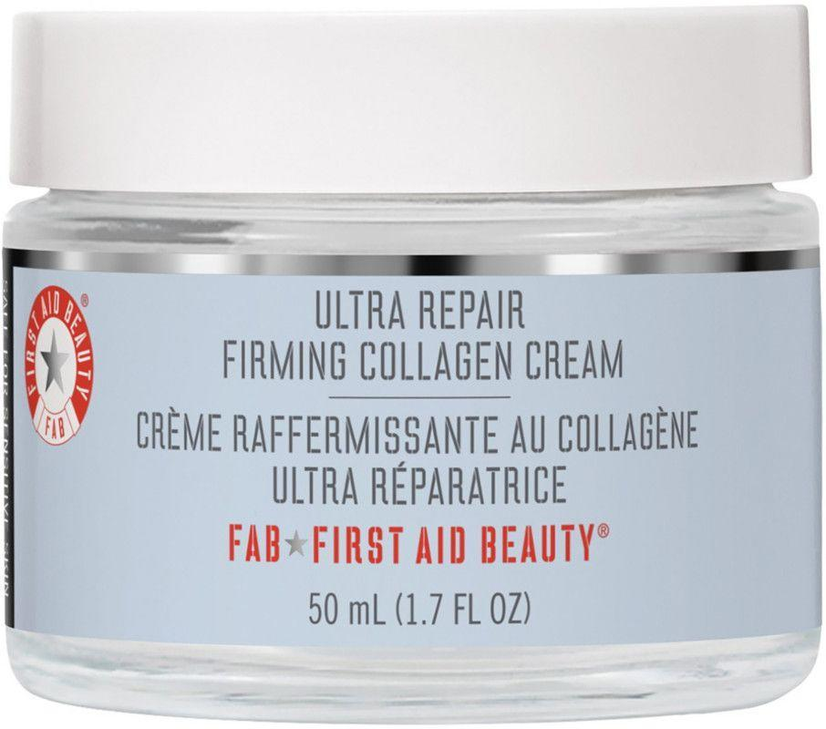 """<p><strong>First Aid Beauty</strong></p><p>ulta.com</p><p><strong>$42.00</strong></p><p><a href=""""https://go.redirectingat.com?id=74968X1596630&url=https%3A%2F%2Fwww.ulta.com%2Fp%2Fultra-repair-firming-collagen-cream-pimprod2022848&sref=https%3A%2F%2Fwww.townandcountrymag.com%2Fstyle%2Fbeauty-products%2Fg33327892%2Fbest-collagen-creams%2F"""" rel=""""nofollow noopener"""" target=""""_blank"""" data-ylk=""""slk:Shop Now"""" class=""""link rapid-noclick-resp"""">Shop Now</a></p><p>Packed with collagen and peptides to support skin's structure, this nourishing cream also contains calming colloidal oatmeal to de-stress the complexion and soothe away redness. </p>"""